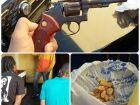 Duas pessoas são presas com crack, arma e munições