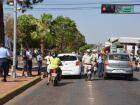 Com panfletagem, crianças pedem trânsito mais seguro