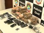 Sacola com 7,4 kg de maconha e 14 celulares é arremessada por muro de penitenciária