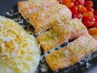 Salmão empanado com batata palha