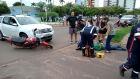 Batida entre moto e SUV em avenida deixa um ferido