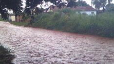 Chuva alaga rua em bairro de Três Lagoas