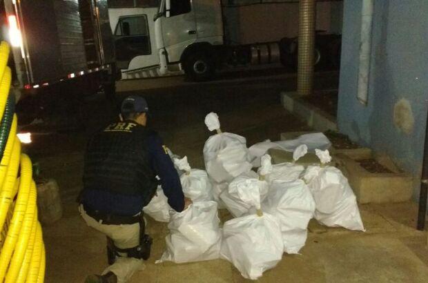 Quase 200 kg de maconha são encontrados em caminhão