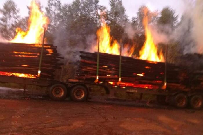 Carreta carregada com eucalipto pega fogo e fica destruída