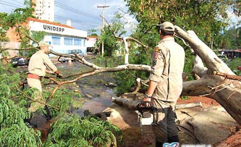 O temporal que caiu na sexta-feira (28) deixou estragos por toda cidade