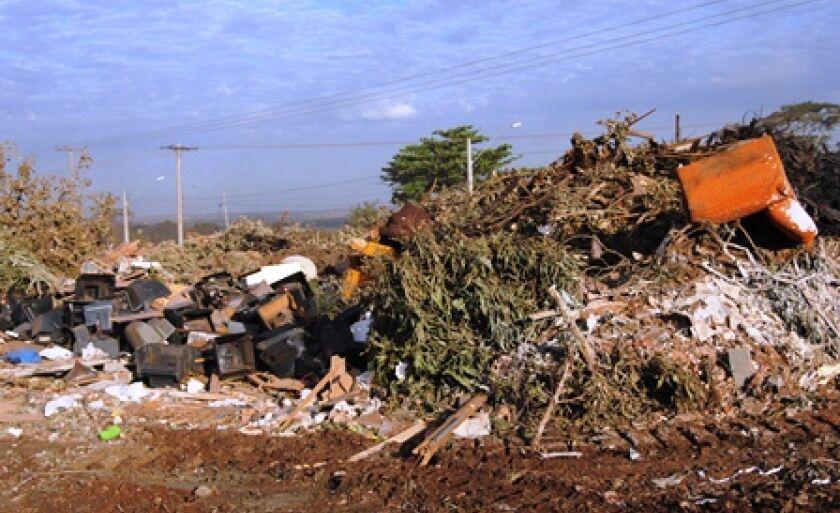 Em meio a entulhos e galhadas, local está cheio de lixo doméstico e até de móveis