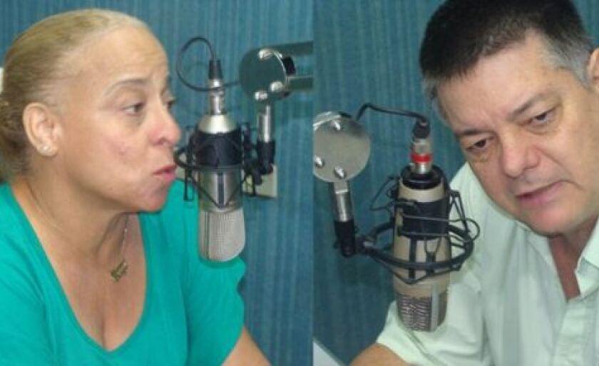 Maria Diogo e Petrônio Alves Corrêa Filho, no estúdio da Cultura FM