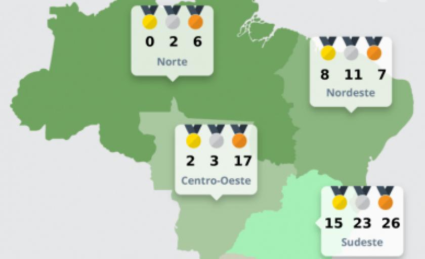 Ranking foi elaborado com base em dados do Comitê Paralímpico Brasileiro