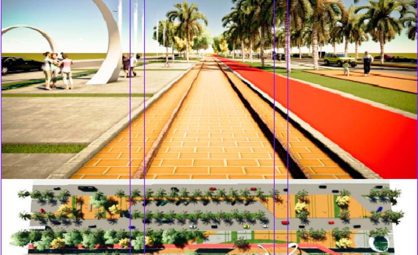 Croqui de projeto do Parque Linear que pode ser construído na área da antiga ferrovia em Três Lagoas