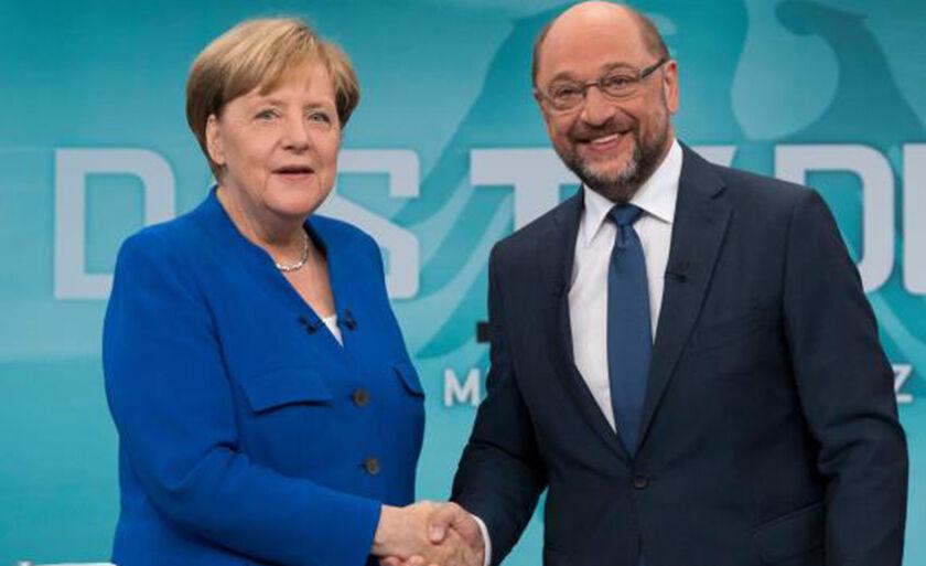 Chanceler alemã Angela Merkel e seu concorrente Martin Schulz participaram de um debate ao vivo antes das eleições que ocorrem em 24 de setembro na Alemanha