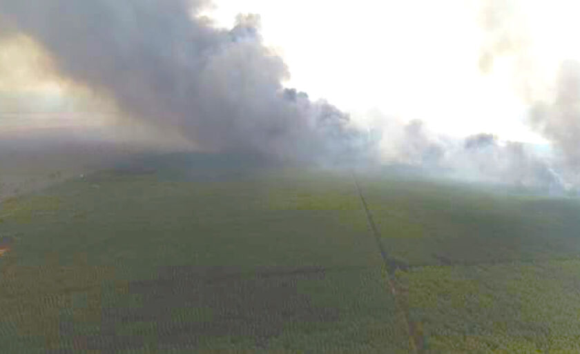 Imagem aérea mostra a dimensão do fogo na região de Ribas do Rio pardo