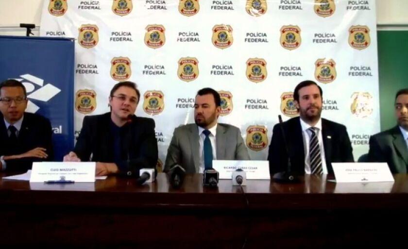 Coletiva à imprensa, em Campo Grande, por representantes da Polícia Federal, Controladoria Geral da União e Receita Federal, que investigam a organização criminosa.