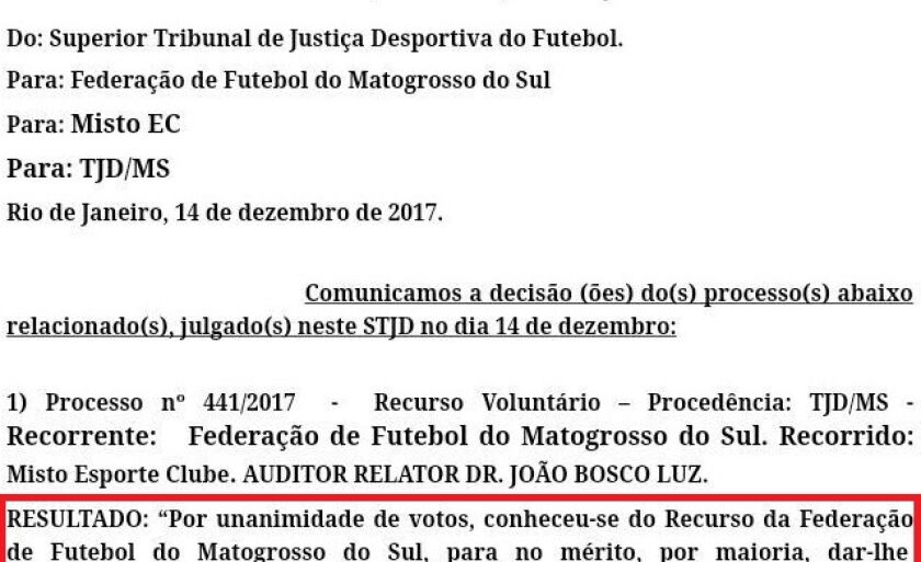 Despaço do STJD condena Misto à perda de registro