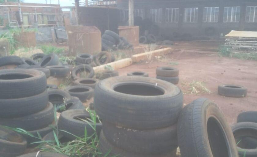 No local há inúmeros pneus com água acumulada, o dono já foi notificado