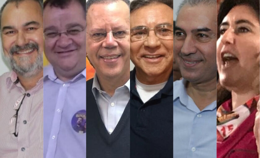 Da esq. à dir., Humberto Amaducci (PT), João Alfredo (PSOL), Marcelo Bluma (PV), Odilon de Oliveira (PDT), Reinaldo Azambuja (PSDB), Simone Tebet (MDB)