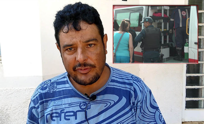 Marido de Izabel (atendida pelo Samu, no detalhe), Antônio Ramos recebeu a notícia do acidente, enquanto trabalhava