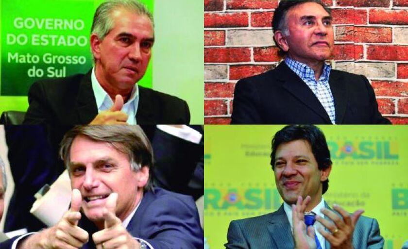 Reinaldo Azambuja e Odilon (acima), Bolsonaro e Haddad (à dir) disputam o segundo turno