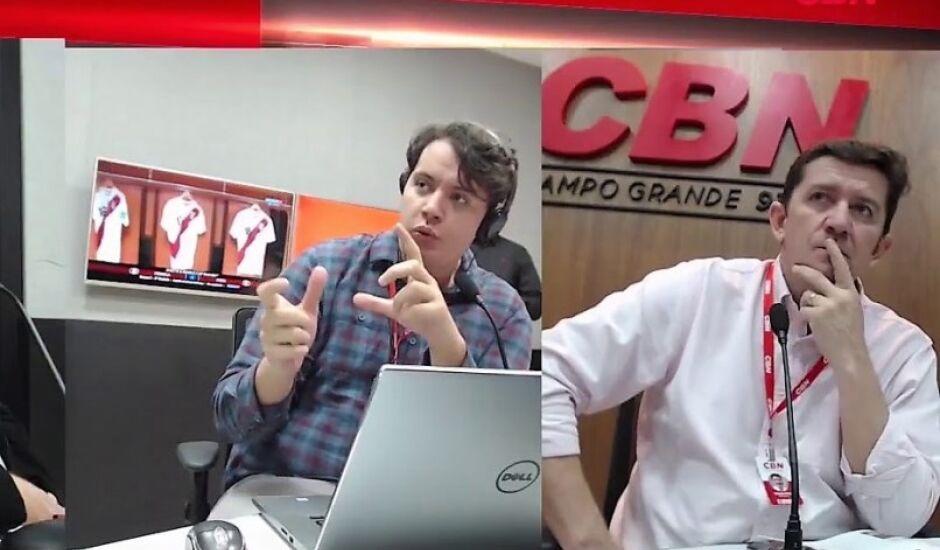 Entrevistas são feitas pelos jornalistas Lucas Mamédio (à esq) e Otávio Neto, gerente de jornalismo do Grupo RCN de Comunicação