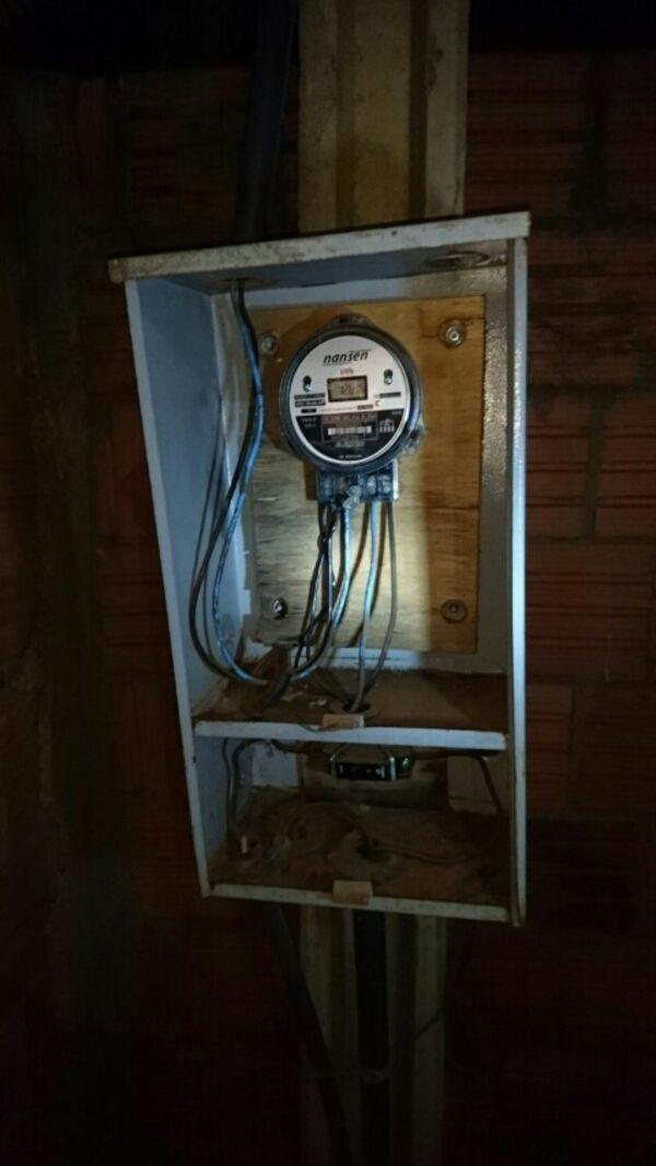 O gato foi localizado pelos bombeiros no poste onde o padrão de energia está instalado